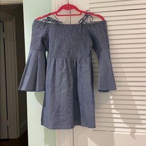 Chambray Tularosa Smocked Wide Sleeve Mini Dress